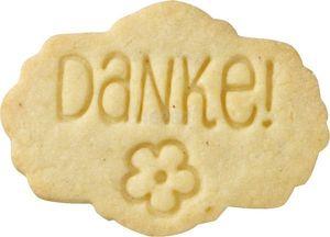Plätzchen Stempel Danke Buchenholz mit Silikonscheibe Kekse Verzieren
