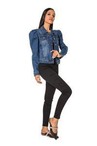 Damen Denim Jeans Jacke Blazer Leichte Übergangsjacke Casual Design, Farben:Blau, Größe:40