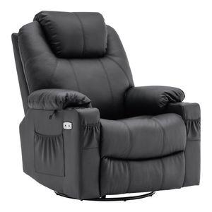 MCombo Elektrisch Relaxsessel Massagesessel 240° Dreh+ Schaukel + Vibration 7070BK