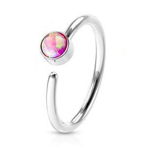 viva-adorno 0,8mm Nasenring Nasenpiercing Piercing Hoop Ring Opal Tragus Helix Cartilage Rook Ohrpiercing Z520,silber / pink