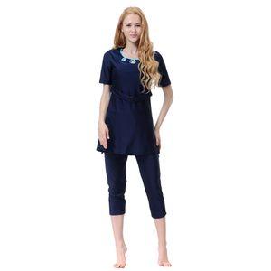 Muslimische Frauen Bademode Badeanzug Kurzarm Islamic Beachwear Burkini Set 2XL Navy blau