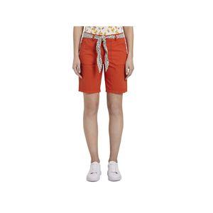 25480 Tom Tailor, Chino Bermuda,  Damen kurze Jeans Shorts Bermudas, Popeline Stretch, red, D 36 W 28