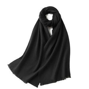 100% Wolle Damen- und Herrenschal, 190 cm x 32 cm-Schwarz