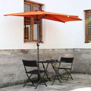 Angel Living 270cm Halber Runder Sonnenschirm Sonnenschutz Rostfrei aus Aluminium und Polyester (Terrakotta)