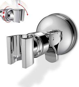 Duschkopfhalterung Saugnapf, Verstellbarer Brausehalter Bad Saugnapf mit 360°drehbar Brausehalter für Handbrause, Abnehmbarer Handbrause Halterung und an der Wand montierte Saughalterung