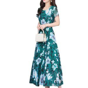 Sommer Frauen Slim Fit O-Ausschnitt Blumendruck Kurzarm Maxikleid mit enger Taille , Grün XXXL