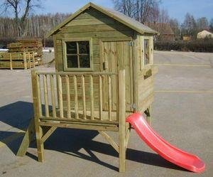 Kinderspielhaus Spielhaus Holz-Gartenhaus Spielhütte aus Holz für Kinder - (3991)
