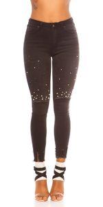 Skinny High Waist Jeans im Used-Look  mit Deko Perlen, Farbe: Schwarz, Größe: 40