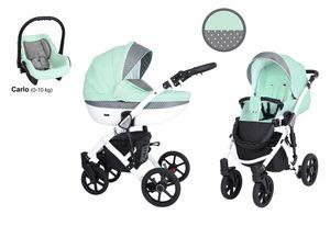 Kinderwagen MILA Sportwagen Babywagen Autositz Babyschale Komplettset Kinder Wagen Set 3 in 1 (Minze mit Pünktchen, Rahmenfarbe: Weiß)