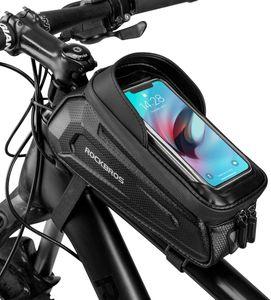 ROCKBROS Rahmentasche Fahrradtasche Handyhalterung Wasserdicht Handytasche für Smartphone bis zu 6.8 Zoll mit TPU