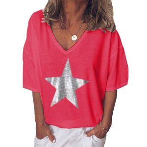 Plus Size Sommer Frauen Star V-Ausschnitt Kurzarm T-Shirt Einfarbig Loose Top Rot L.