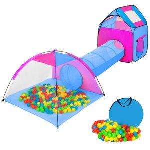 tectake Spielzelt mit Tunnel, 200 Bällen und Tasche - blau
