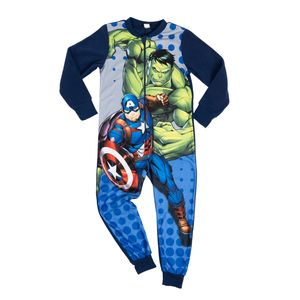 Marvel - The Avengers Jungen Jumpsuit Overall Pyjama Schlafanzug Kinder, Größe:122-128