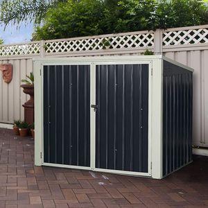 COSTWAY Mülltonnenbox Garten, Schuppen Gartenschrank Metall, Gartenbox Wasserdicht, Gerätebox, 173x97x134cm