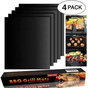 BBQ Grillmatte (4er Set) 40x33 cm Zum Grillen und Backen BBQ Antihaft Grill Backmatte Extra große Grillfolie Grillmatten für Holzkohle, Gasgrill & Backofen Wiederverwendbar PFOA-Frei