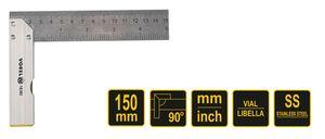 Anschlagwinkel Schreinerwinkel Tischlerwinkel mit Wasserwaage mm 90° verschieden Längen, Länge:150mm