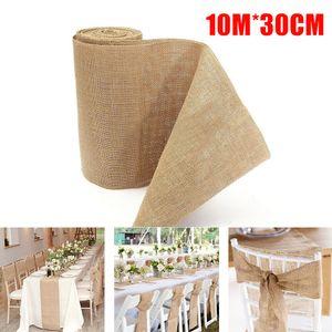 Jute natur Tischläufer Tischband Rustic Wedding Fabric Burlap 10M x 30CM Deco