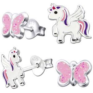 2x Ohrringe echt 925 Sterling Silber Ohrstecker  rosa Einhorn Pferde Glitzer für Kinder Mädchen Pegasus K200 + Schmetterling Nr.1