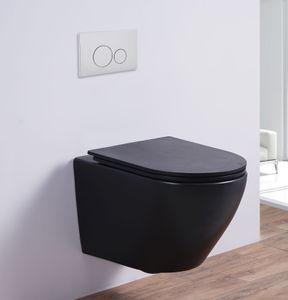 Spülrandloses Wand-WC inkl. Soft-Close Sitz WHR-446075 (matt-schwarz)