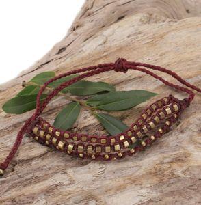 Perlenarmband, Makramee Armband, Herren Armband - Dunkelrot, Armreifen & Armbänder Modeschmuck