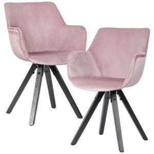 WOHNLING 2er Set Esszimmerstuhl Samt Rosa mit Armlehnen | Küchenstühle Modern mit schwarzen Beinen | Bequemer Schalenstuhl Gepolstert