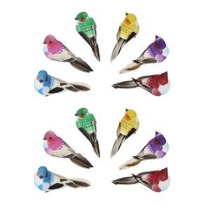 Packung mit 12 Realistischen Gefiederten Vögeln mit Klauenfäden, Vögel