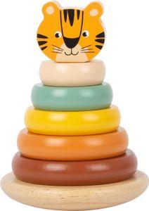 "small foot 11706 Stapelturm Tiger ""Safari"" aus Holz, in Trendfarben, Steckspiel, ab 12 Monaten"