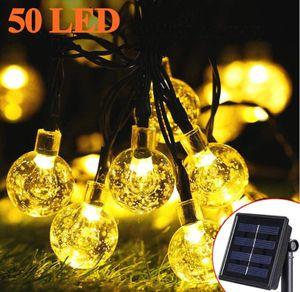 Solar Lichterkette Aussen - Zodight 9.5M Solar Lichterkette 50 LED Kristall Kugeln, 8 Modi Solarlichterkette Wasserdichte Innen/Außen für Garten, Bäume, Terrasse, Weihnachten, Party (Warmweiß)
