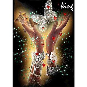 DIY 5D Diamant-Malerei, Diamond Painting Bilder Schmetterling und Hand, Malen nach Zahlen Kit, Voll Handwerk Klebebild Kreuzstich Wanddekoration, 30x40cm