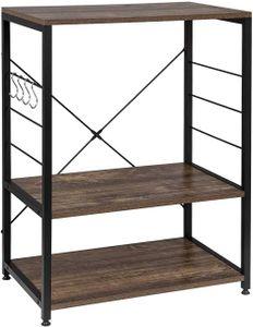 Standregal aus Holz & Metall mit 3 Ablagen für Küche : schwarz-vintage Farbe: schwarz-vintage