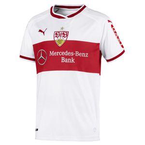 PUMA VfB Stuttgart Home Replica Jr w.Sponsor Kinder Fußball-Shirt Weiss-Ribbon Rot, Größe:176