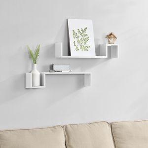 [en.casa] 2-teiliges Wandregal Weiß matt Retro-Design
