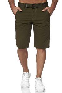 Herren Chino Shorts Kurze Sommer Jeans Hose 5-Pocket, Farben:Khaki, Größe Shorts:36W