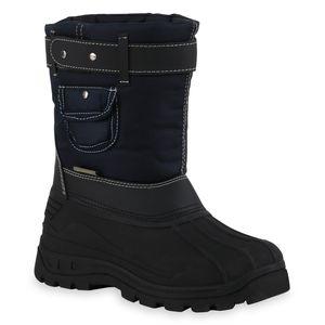 Mytrendshoe Kinder Warm Gefütterte Winter Boots Bequeme Stiefel Nieten Schuhe 836079, Farbe: Schwarz Dunkelblau, Größe: 35