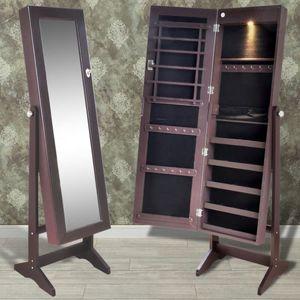 Brauner Spiegelschrank mit Schmuckständer mit LED Licht