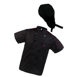 Damen Herren Kochjacke Bäckjacke Gastronomie Kochbekleidung Arbeitsjacke mit Kochmütze Profimütze Kochhaube Chef Hut
