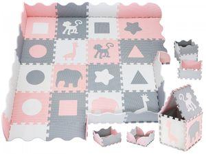 XXL Krabbelmatte Puzzelmatte mit Rand Spielmatte für Babys und Kleinkinder 150 x 150 x 1 cm + Wasserdicht - Rosa