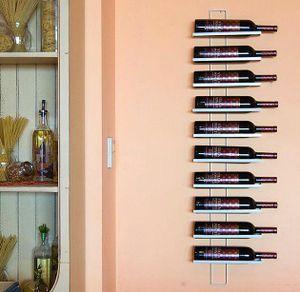 DanDiBo Weinregal Dies White 116 cm aus Metall für 10 Flaschen Flaschenständer Wandregal