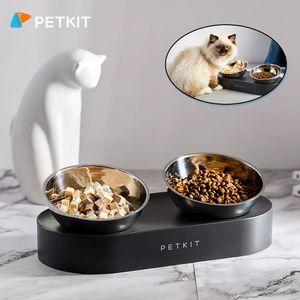 Neue PETKIT Elevated Double Pet Fuetterungsschale 0 ¡ã / 15 ¡ã Verstellbare Katzenfutterhaeuschen aus Edelstahl Futter- und Wasserschalen haben den Boden fuer Katzen und kleine Hunde angehoben