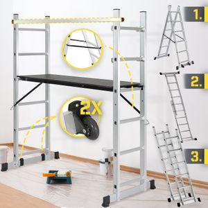 Jago® Baugerüst - Arbeitshöhe max. 280 cm, bis zu 150 kg Belastbar - Alu Multifunktionsleiter, Leitergerüst, Gerüst, Arbeitsgerüst, Arbeitsbühne, Mehrzweckleiter, Arbeitsplattform