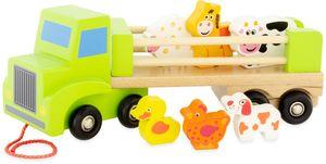 Holz Laster LKW Bauernhof Tiertransporter mit 6 Tieren 30 cm, Kinderspielzeug
