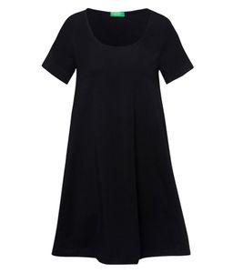 UNITED COLORS OF BENETTON Mini-Kleid sommerliches Damen Rundhals-Kleid mit Kurz-Ärmeln Schwarz, Größe:XS