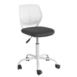 SoBuy FST64-W Schreibtischstuhl Kinder Jugenddrehstuhl Drehstuhl Bürostuhl mit Rücklehne Arbeitsstuhl höhenverstellbar Weiß Sitzhöhe: 46-58cm