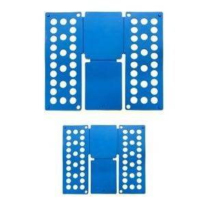 2er Set Faltbrett Blau | Wäschefalter Falthilfe Kunststoff | Wäschefaltbrett Hemdenfalter | Wäsche Faltsystem Kleiderfalter