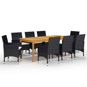 Gartenmöbel Essgruppe 8 Personen ,9-TLG. Terrassenmöbel Balkonset Sitzgruppe: Tisch mit 8 Stühle Schwarz❀5372