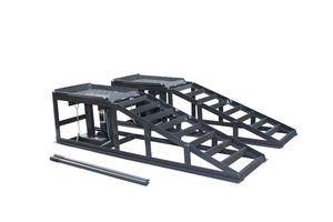 2x Auffahrrampe mit Hydraulischer für PKW KFZ Wagenheber höhenverstellbar Reifenbreite 245mm, Grau