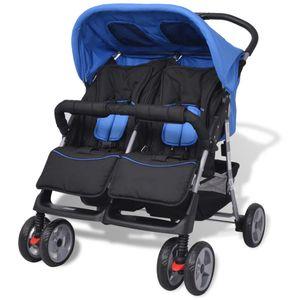 Huicheng Baby Zwillingswagen Zwillingskinderwagen Zwillingsbuggy Stahl Blau und Schwarz, 93 x 68 x 103 cm