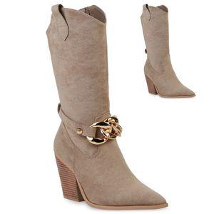 VAN HILL Damen Cowboystiefel Stiefel Ketten Schuhe 837640, Farbe: Khaki, Größe: 38