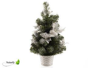 Weihnachtsbaum künstlich mit Deko, 40cm, Farbe:grün / silber