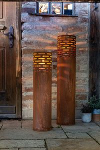 Windlicht 'Rost-Säule', 2er Set Metalldeko Rostdesign herausnehmbar Glaszylinder